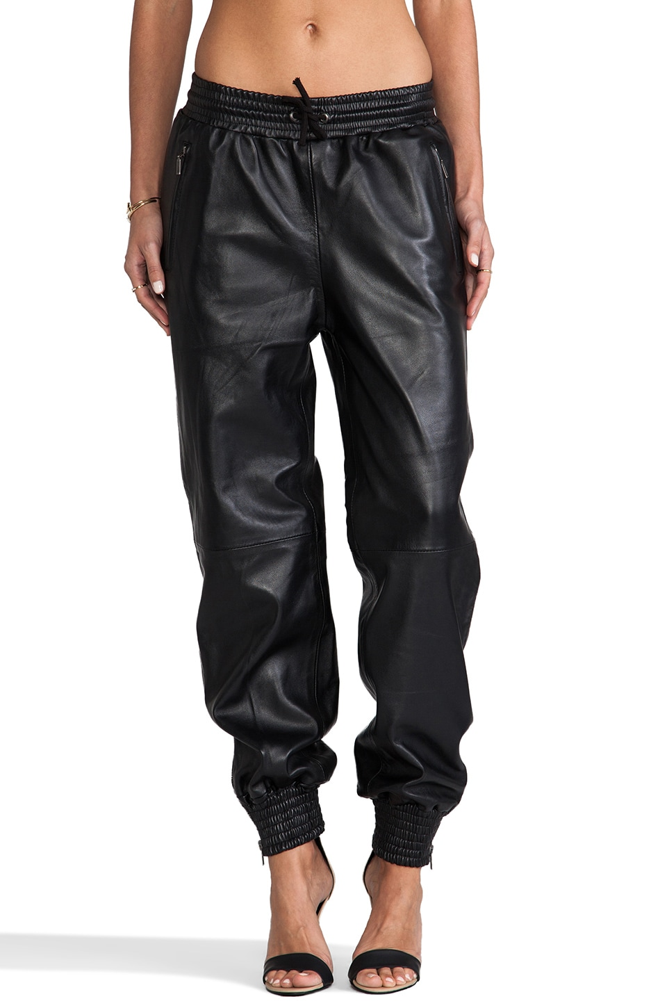 Viparo Stampaid Leather Track Pant in Black