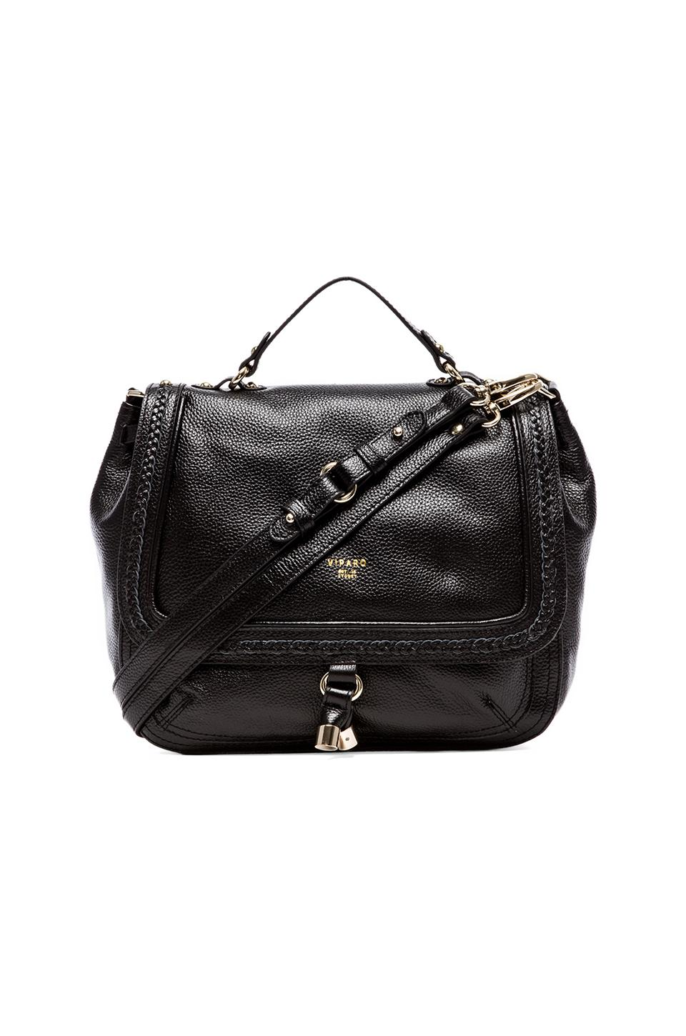 Viparo Jacinta Leather Double Strap Bag in Black