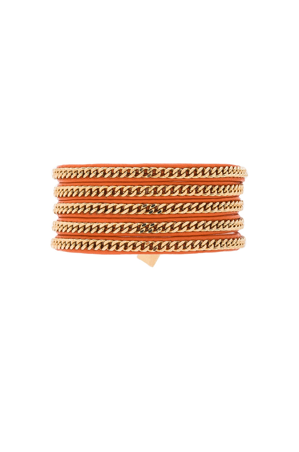 Vita Fede Capri Wrap Bracelet in Orange Leather & Gold