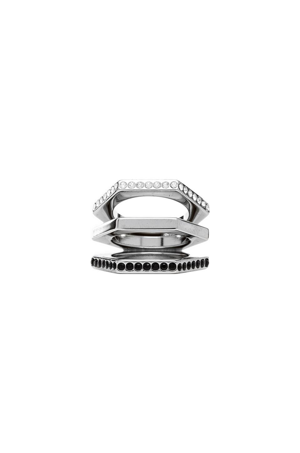 Vita Fede Geo Triple Hexagon Ring in Silver & Clear & Black