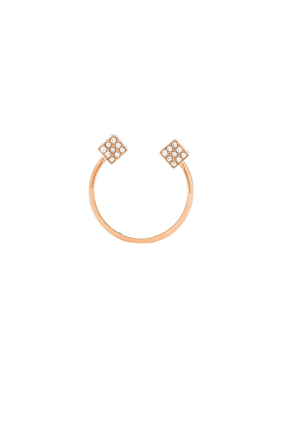 Vita Fede Ultra Mini Double Cubo Ring in Rosegold & Clear