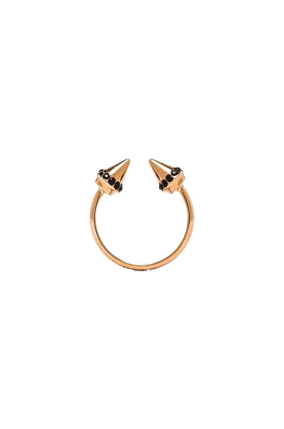 Vita Fede Ultra Mini Titan Ring in Rosegold & Black
