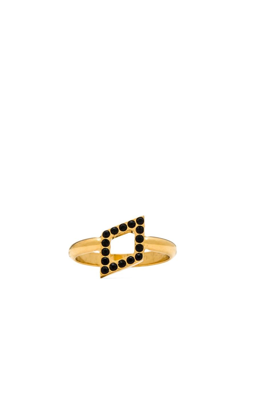 Vita Fede Ultra Mini Rombo Ring in Gold/Black