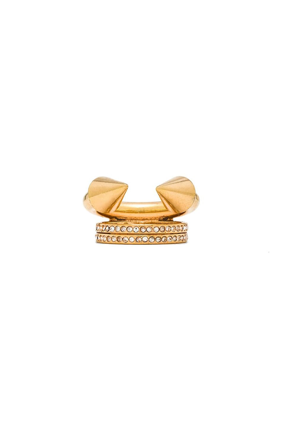 Vita Fede Titan Plain and Double Crystal Ring in Gold/Clear Crystals