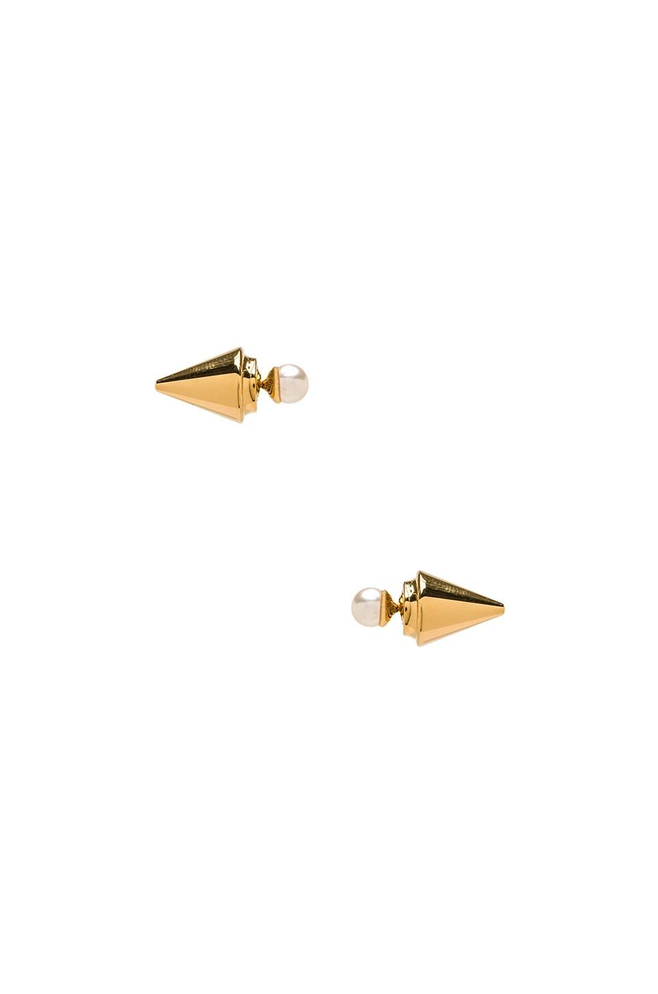Vita Fede Double Titan Pearl Earrings in Gold