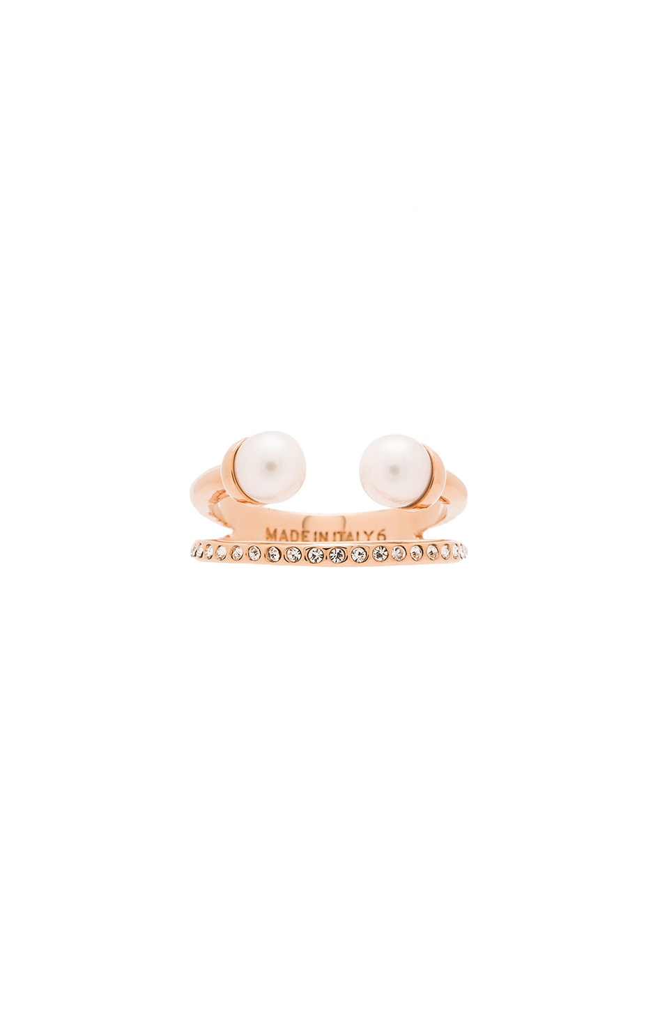 Vita Fede Ultra Mini Double Pearl Ring & Band Ring in Rose Gold & Pearl & Crystal
