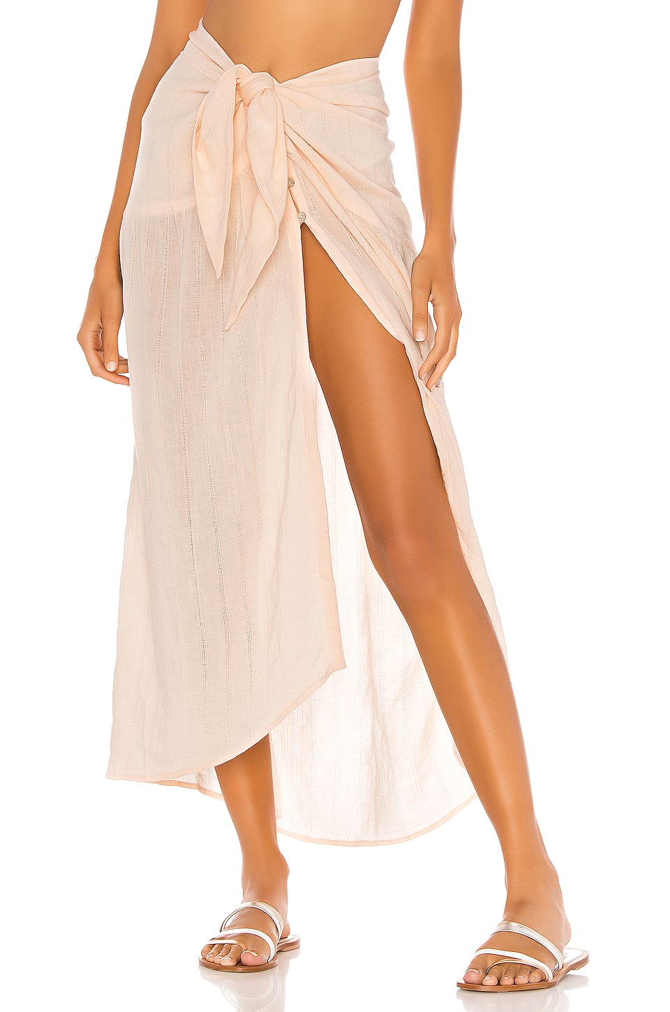 Vix Swimwear Ruffle Pareo Skirt in Vanilla