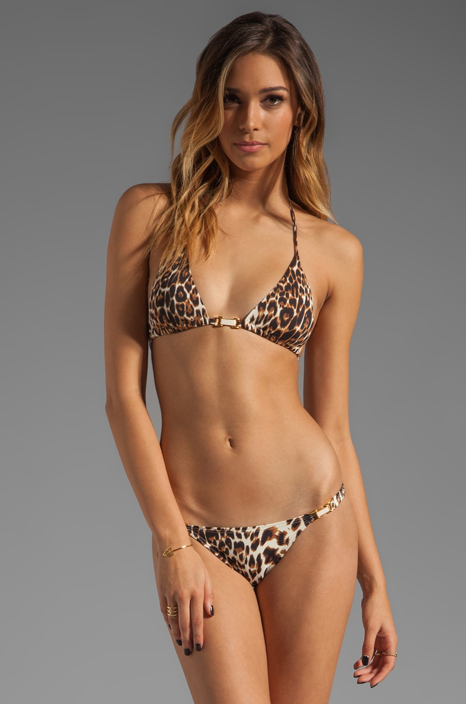 Vix Swimwear Congo Tri Detail Bikini Top in Animal Print