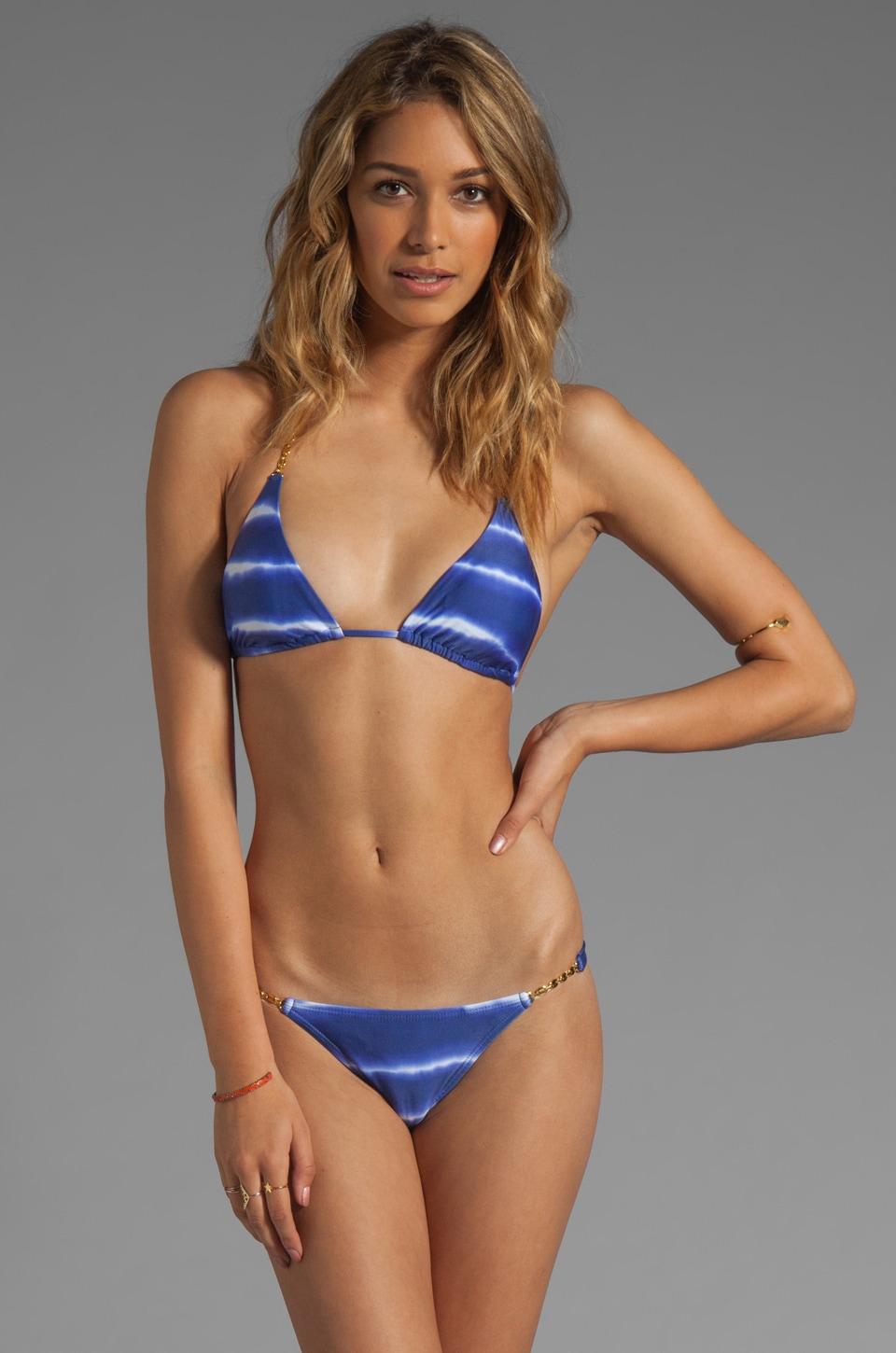 Vix Swimwear Cayman Tri Detail Top in Blue