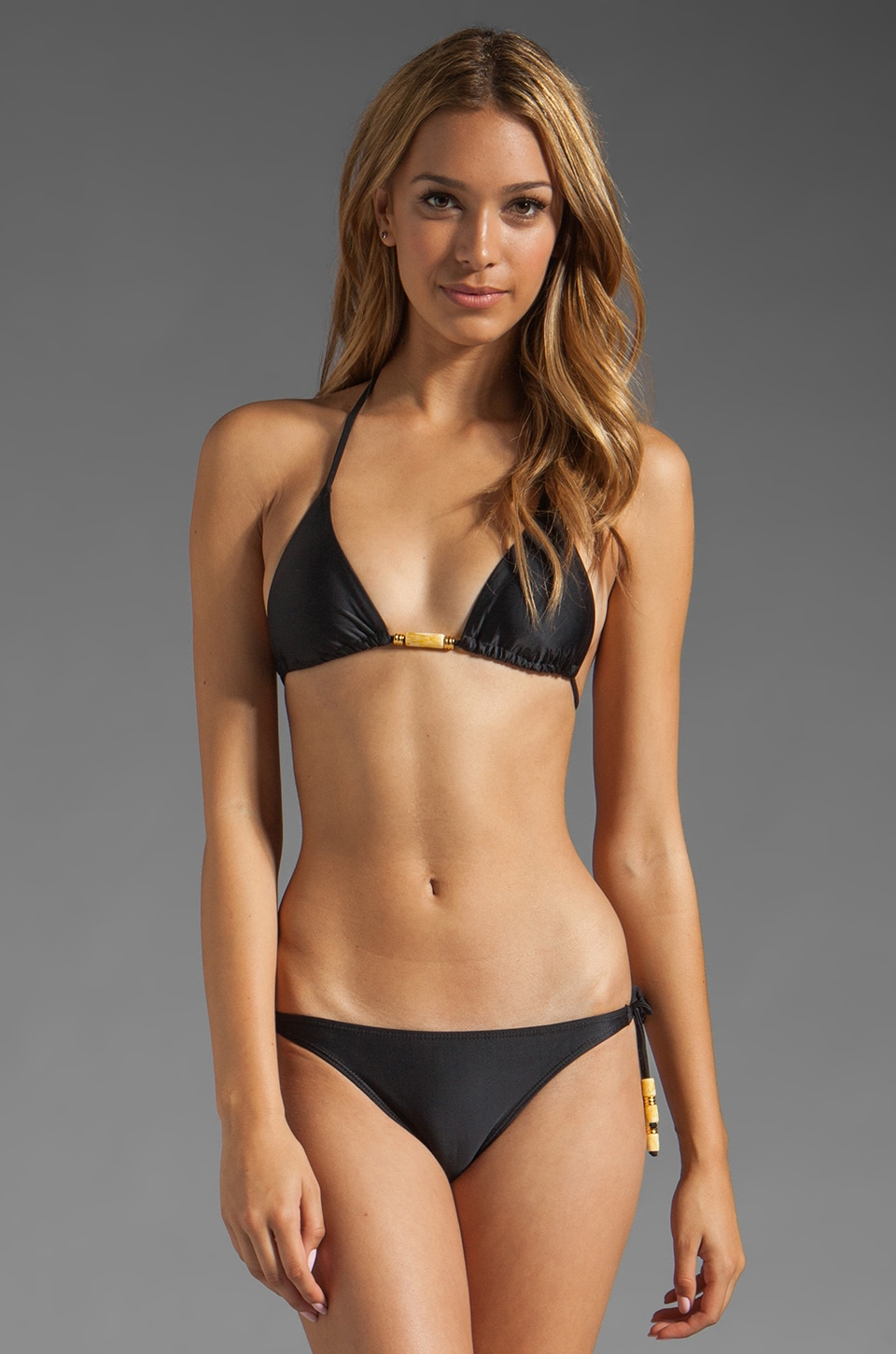 Vix Swimwear Ivory Tri Top in Black