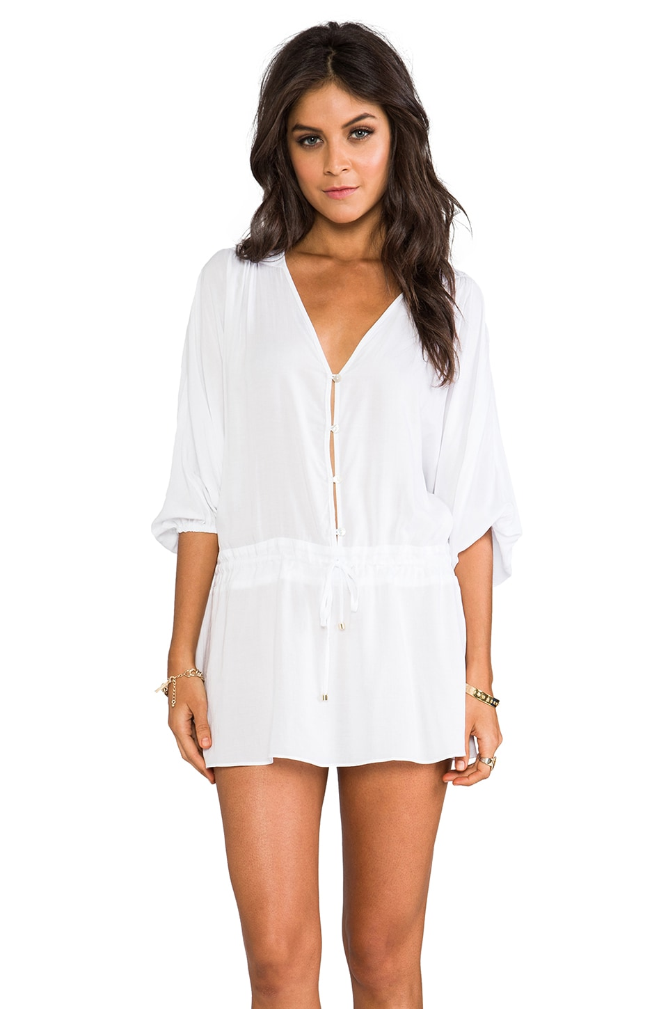 Vix Swimwear Adriana Caftan in Solid White