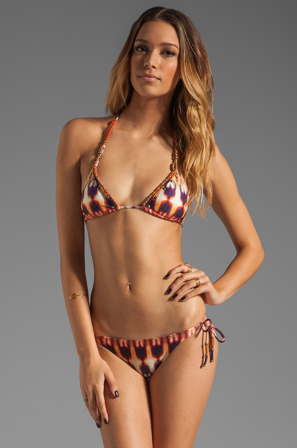 Vix Swimwear Zambia Embroidered Tri Bikini Top in Multi