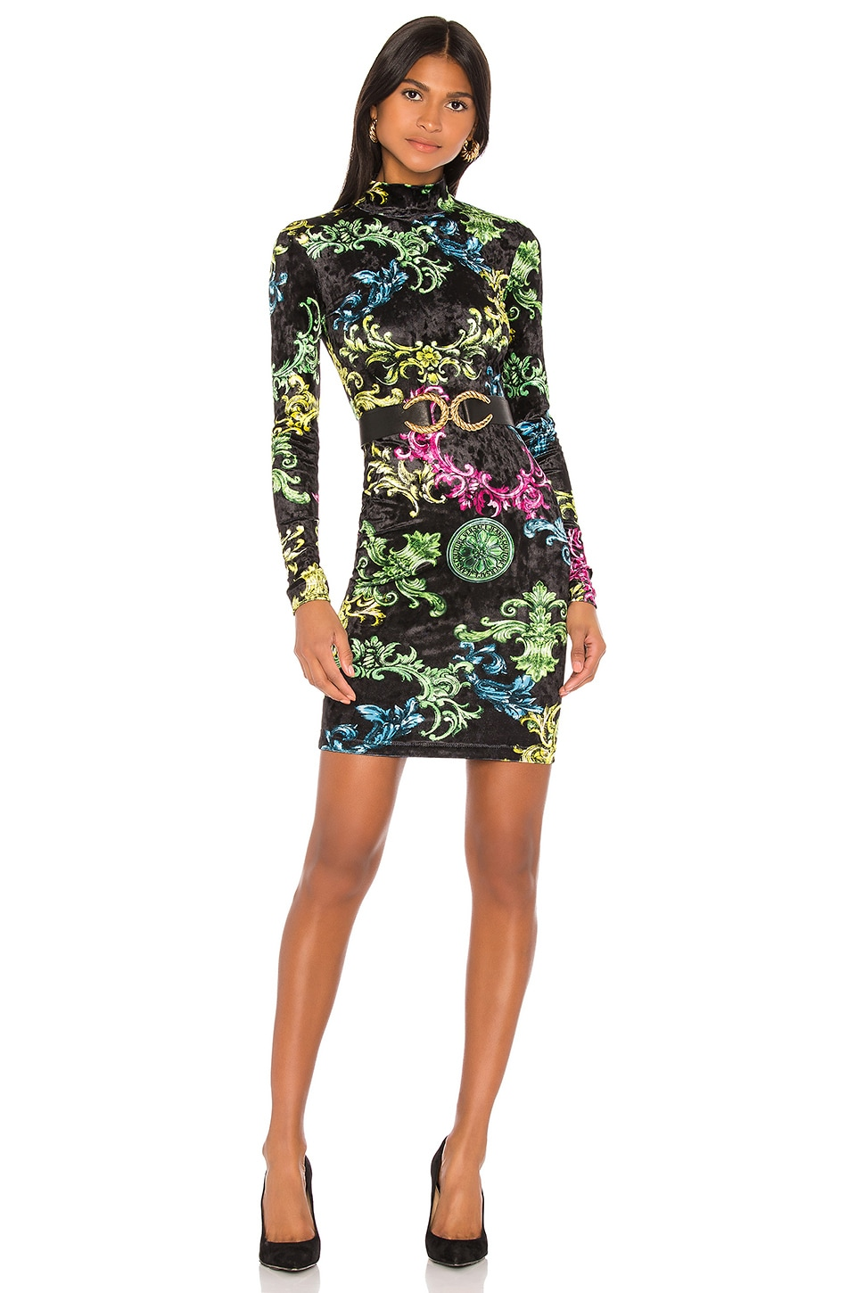 Versace Jeans Couture Long Sleeve Dress in Nero