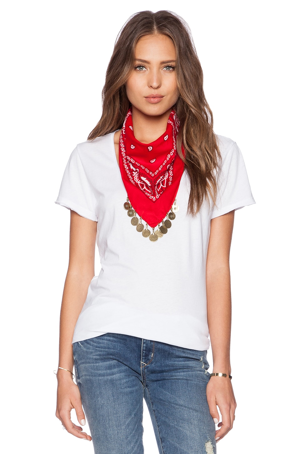 Vanessa Mooney The Harper Coin Bandana Necklace in Red Paisley
