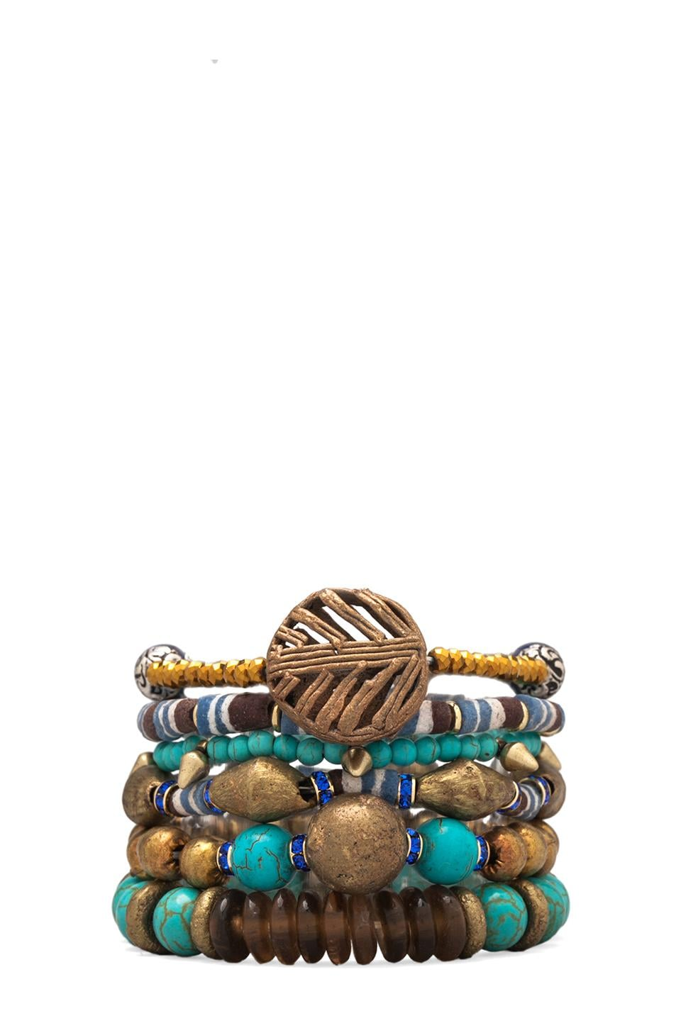 Vanessa Mooney Misty Mountain Bracelet Stack in Brass Multi