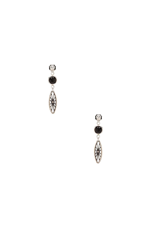 Vanessa Mooney Legends Black Crystal Earrings in Silver