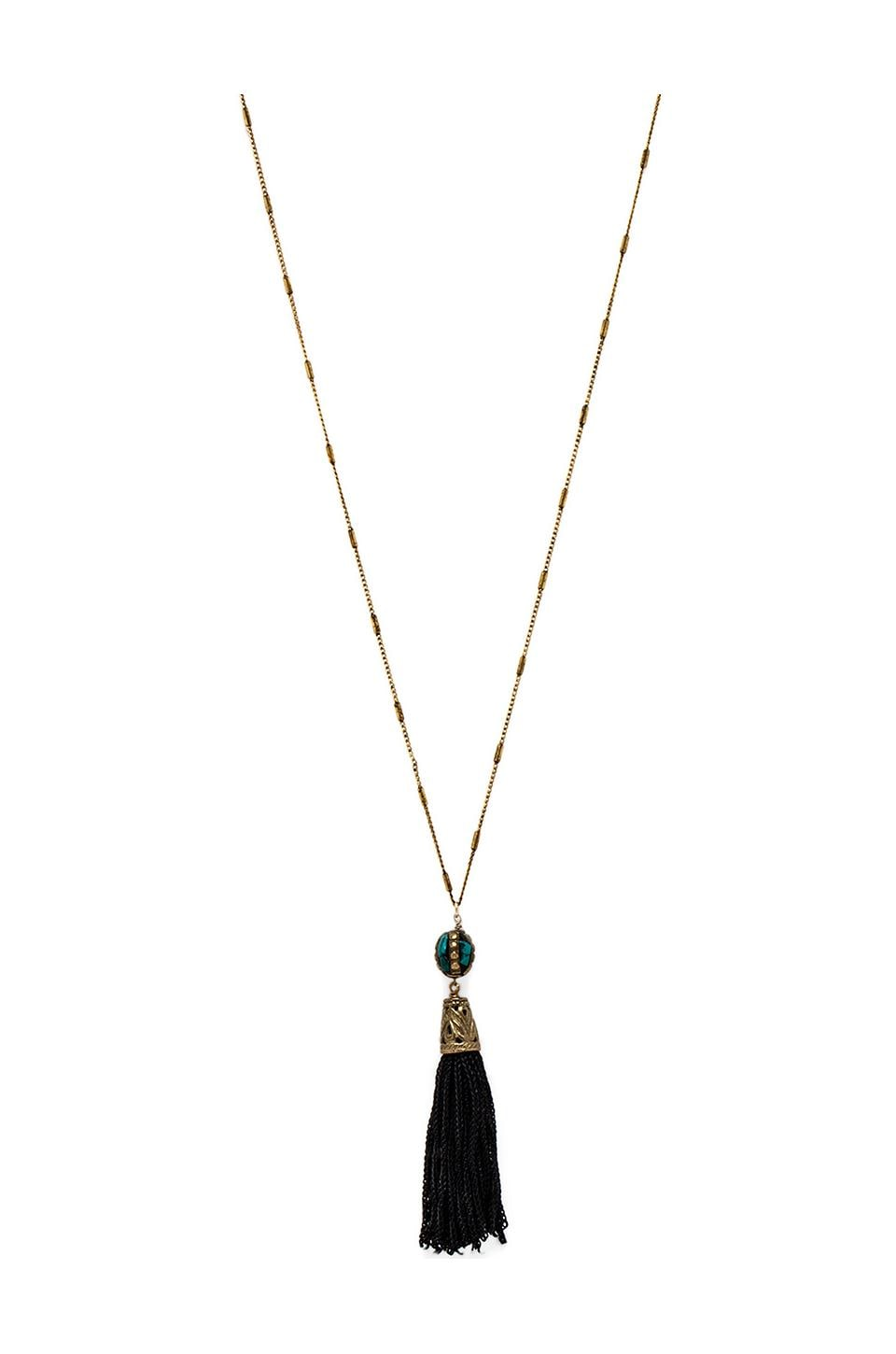 Vanessa Mooney Le Dame Tassel Necklace in Brass & Turquoise