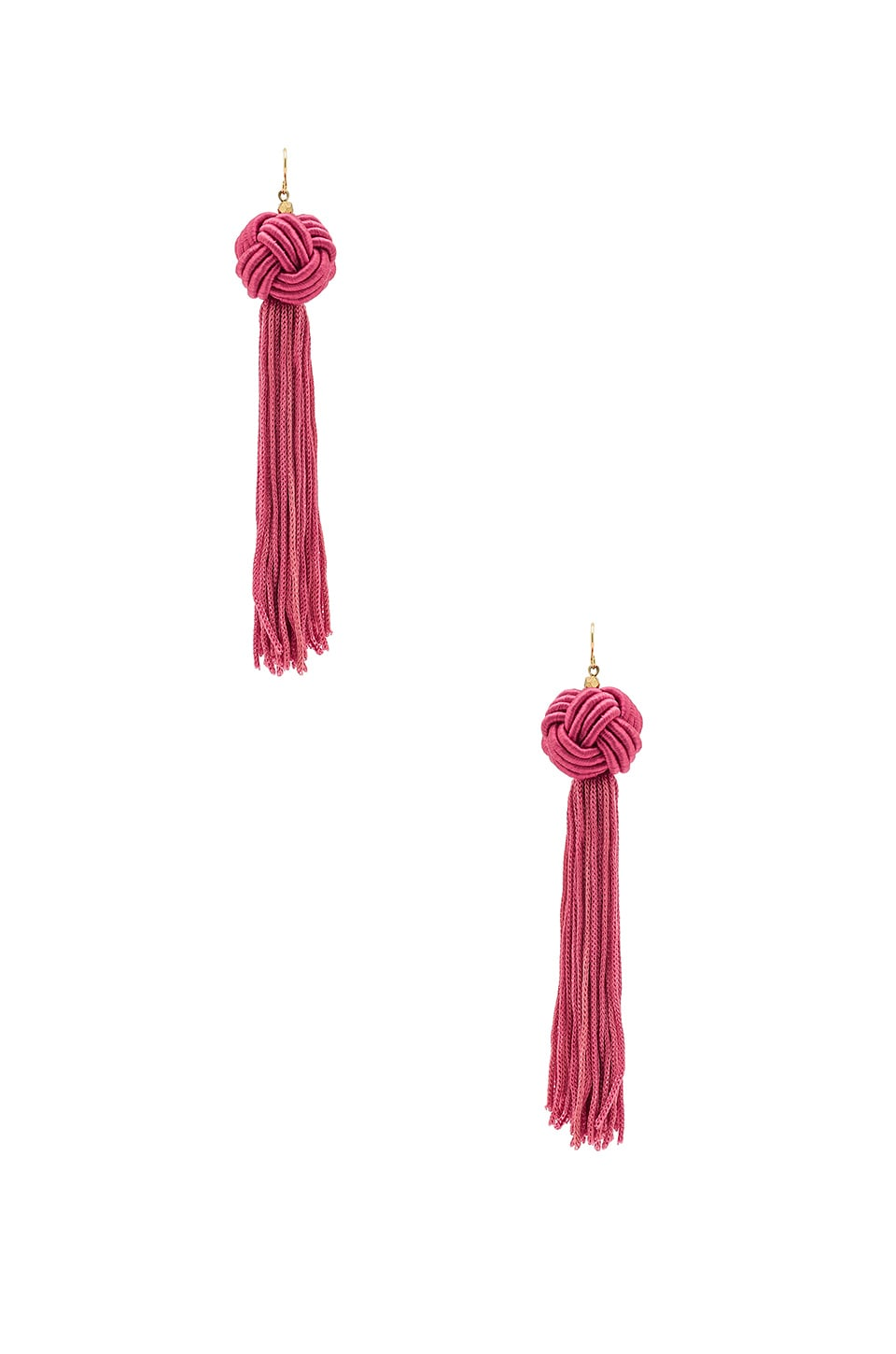 Vanessa Mooney Astrid Knotted Tassel Earring in Pink