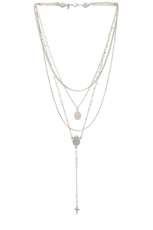 Vanessa Mooney Multi Layered Chain & Stone Rosary in Silver