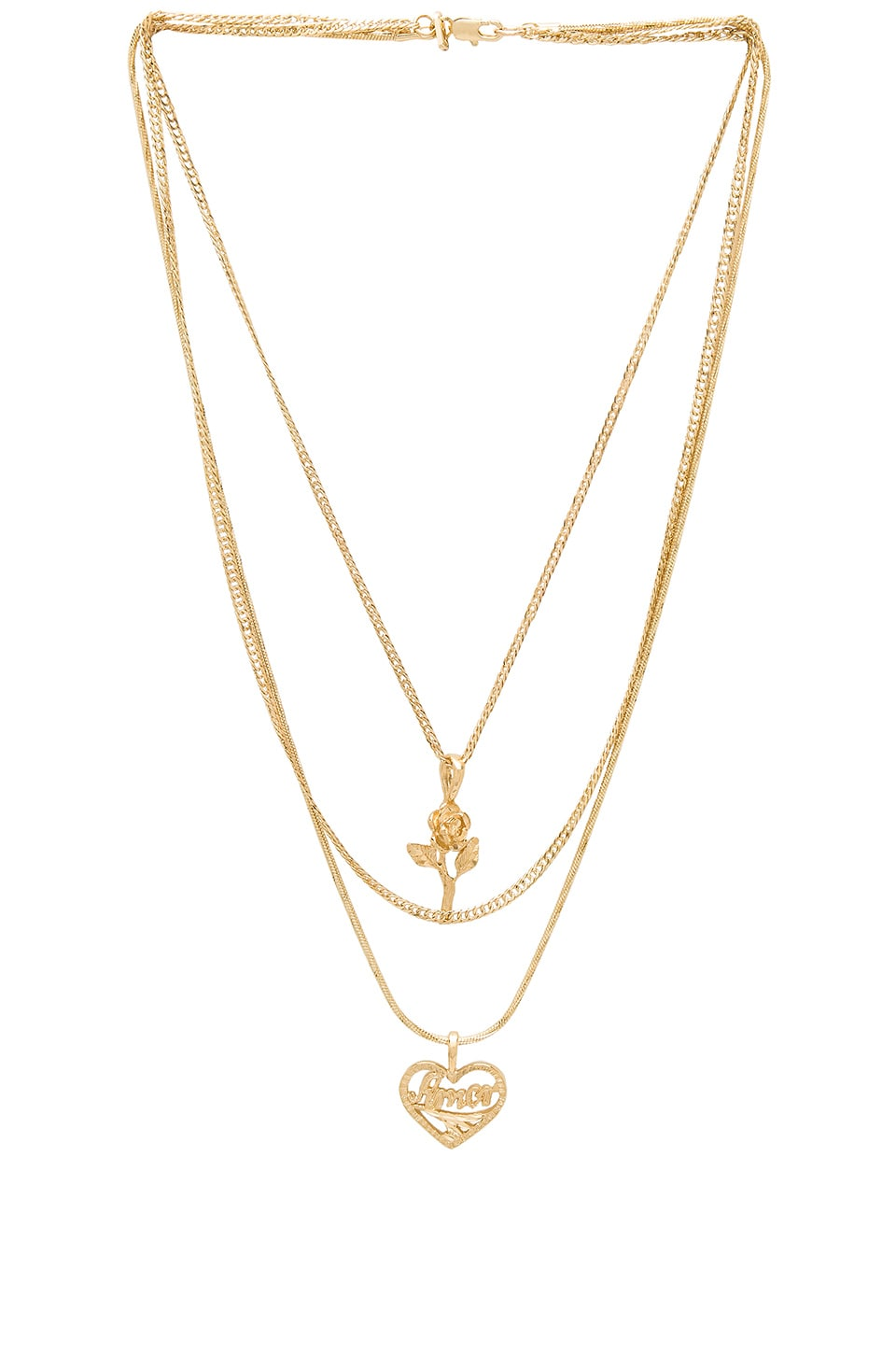 Vanessa Mooney Cielo Rose & Amor Layered Necklace in Gold