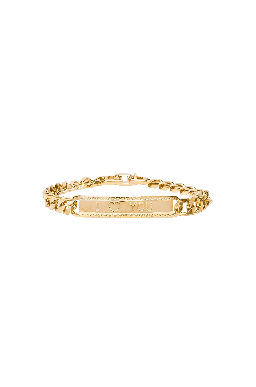 VANESSA MOONEY The I Heart You Id Bracelet in Metallic Gold