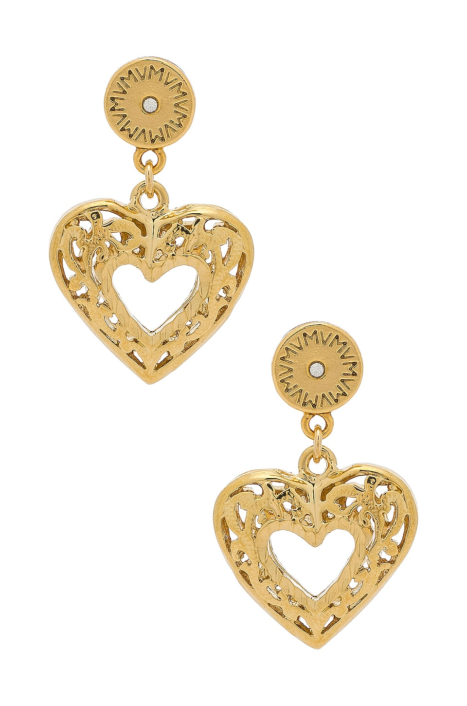 Vanessa Mooney The Charlotte Heart Earrings in Gold