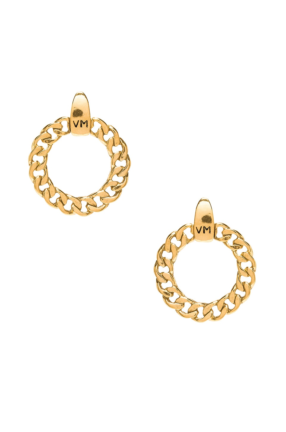 Vanessa Mooney The Members Only VM Logo Hoops in Gold