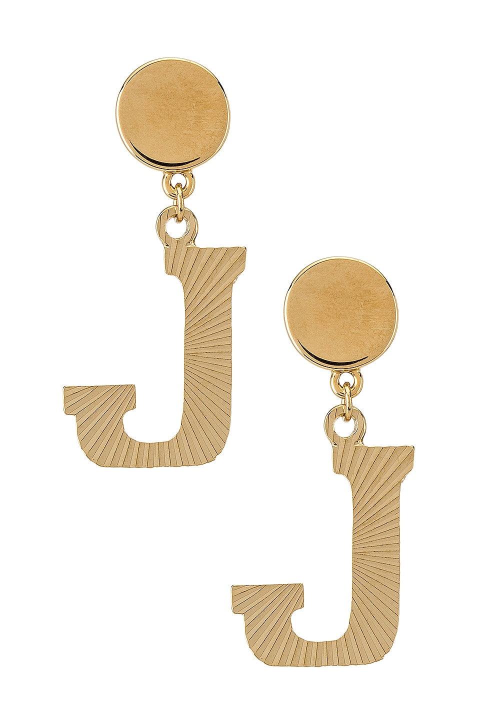 Vanessa Mooney The Illusion J Initial Earrings in Gold