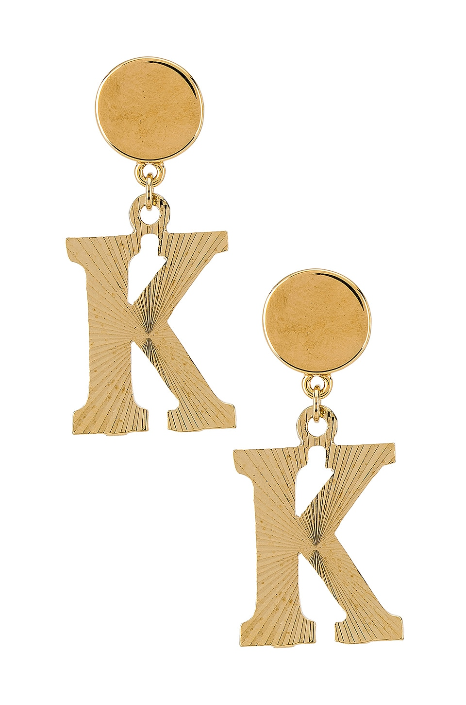 Vanessa Mooney The Illusion K Initial Earrings in Gold