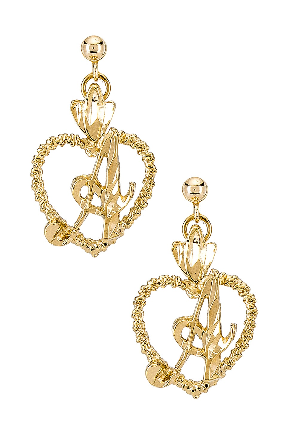 Vanessa Mooney The Sweetheart A Initial Earrings in Gold