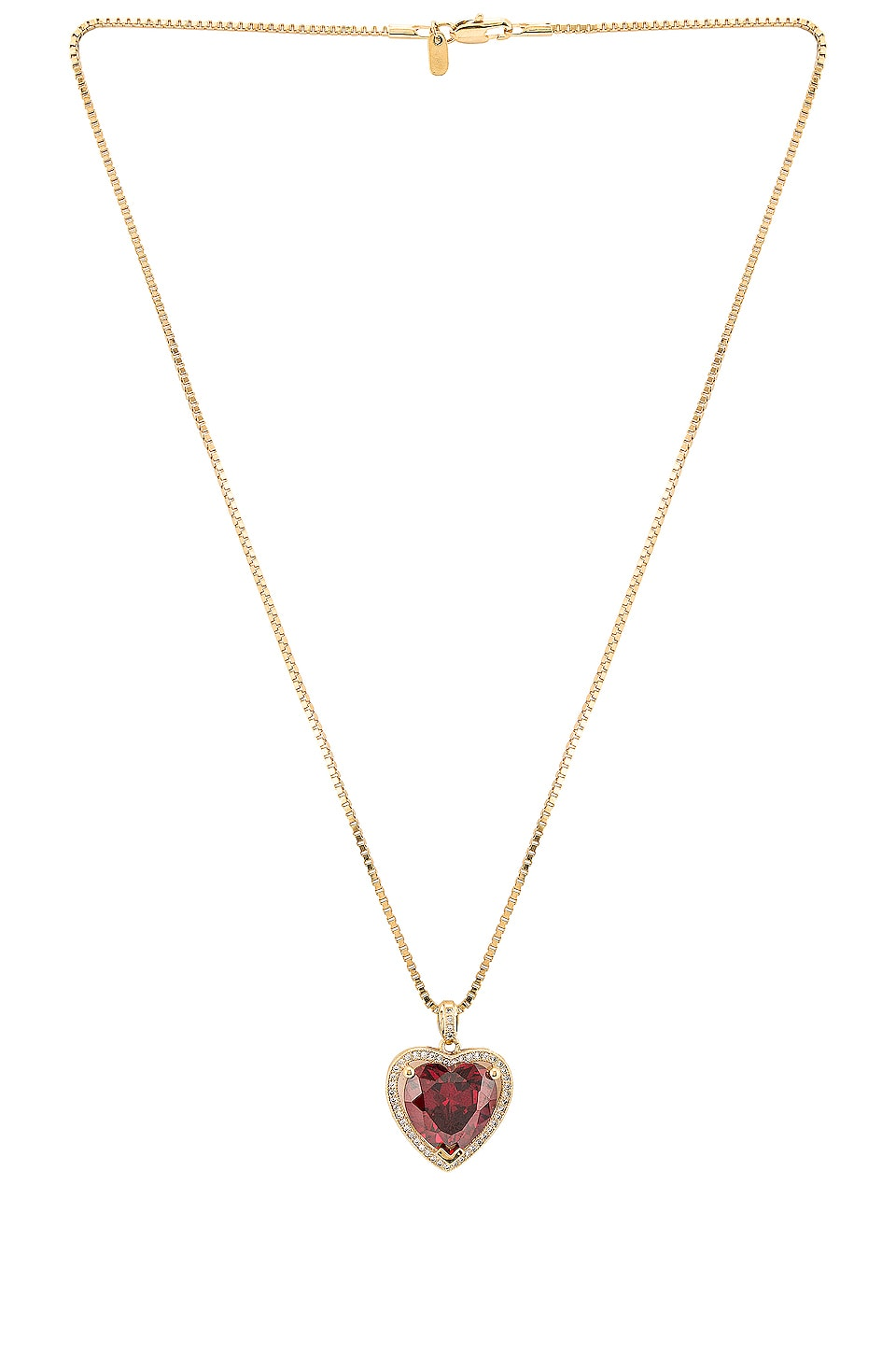 Vanessa Mooney Ruby Heart Necklace in Gold