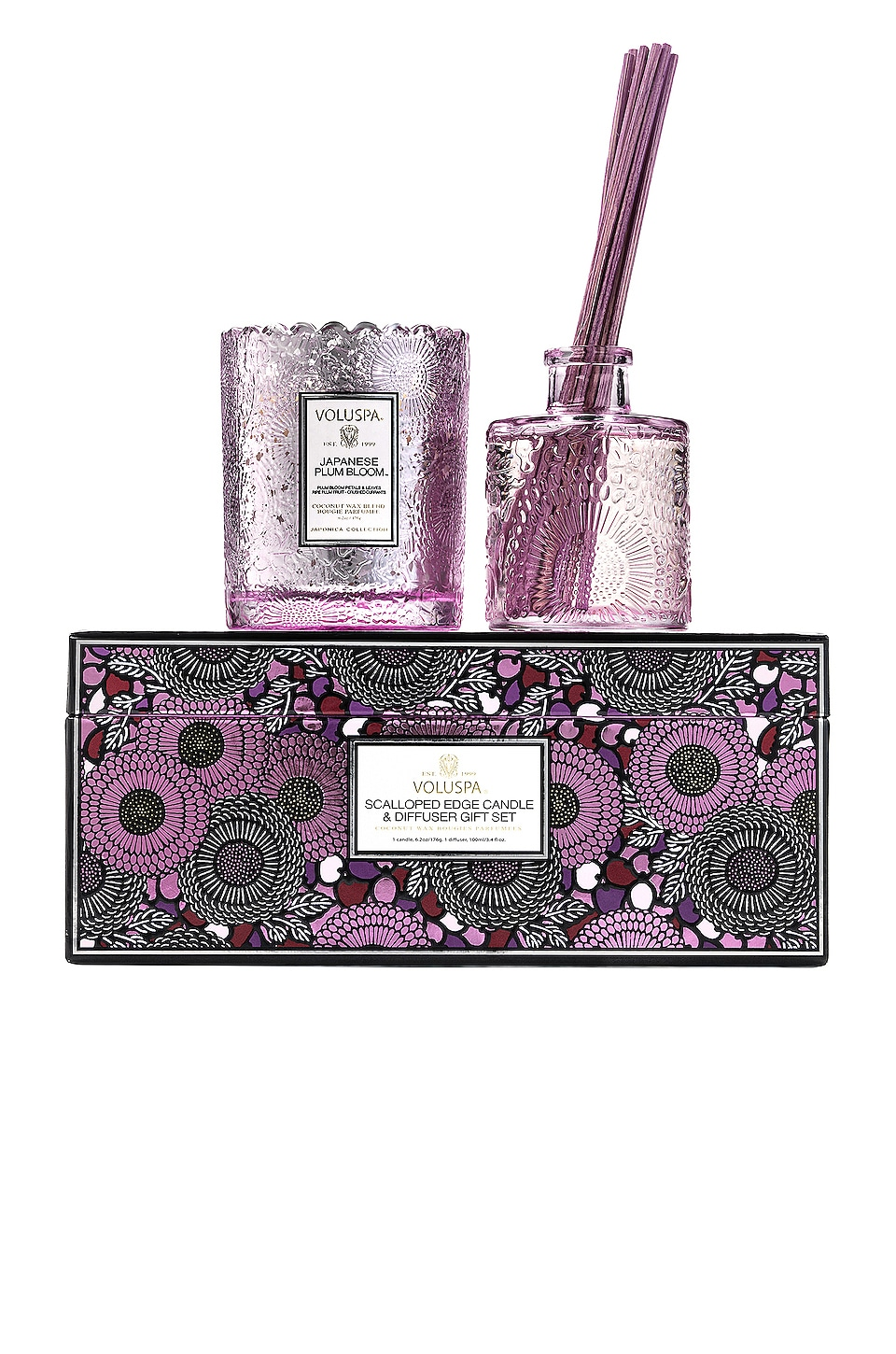 Voluspa Japanese Plum Bloom Scalloped Candle & Diffuser Gift Set in Japanese Plum Bloom