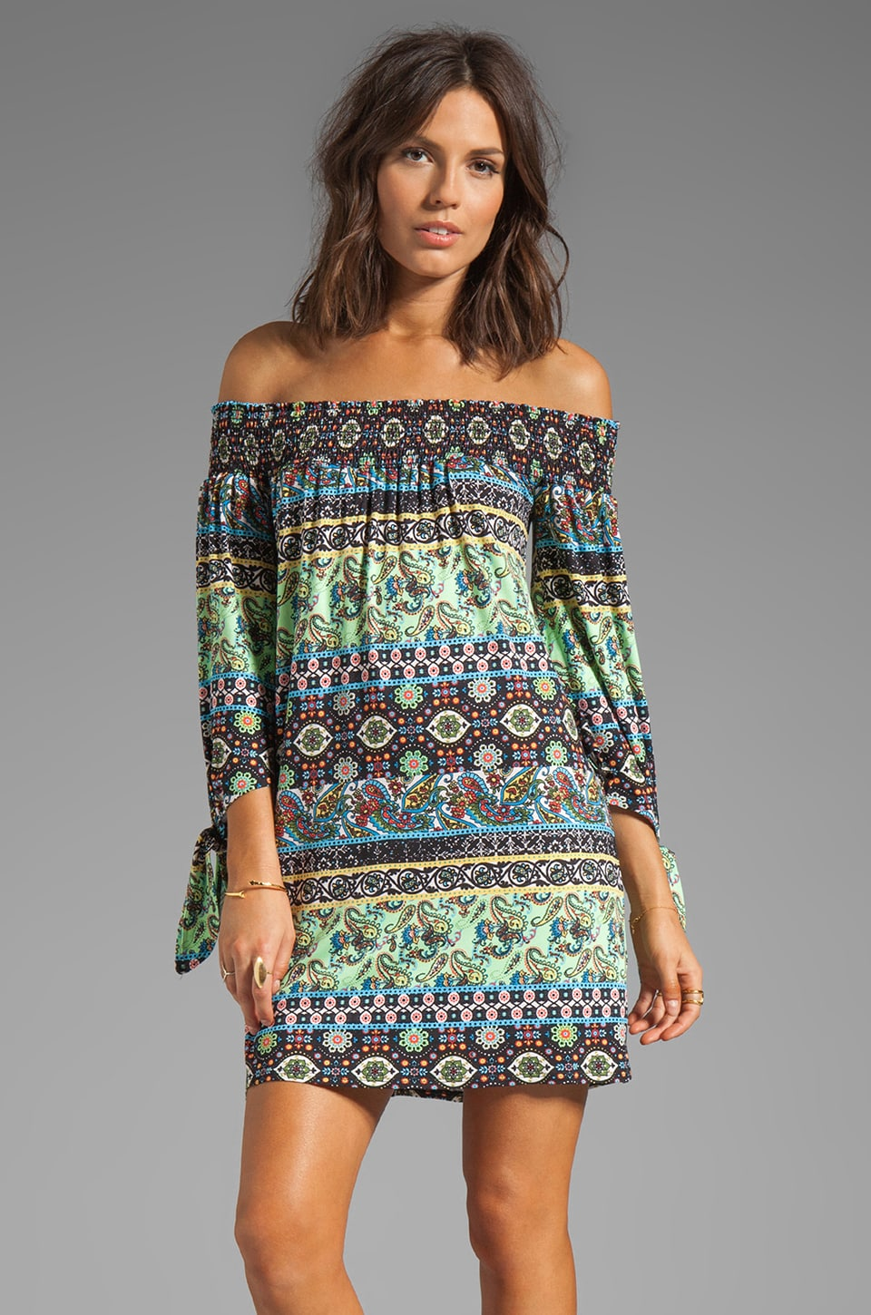 VOOM by Joy Han Eliza Off the Shoulder Dress in Multi
