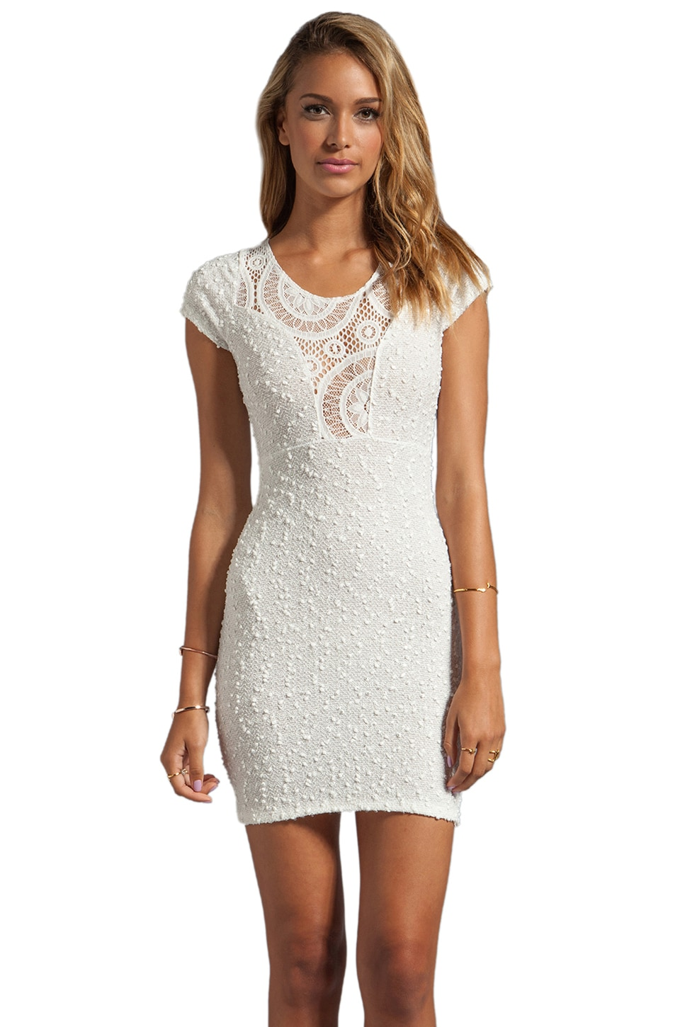 VOOM by Joy Han Penelope Short Sleeve Dress in White