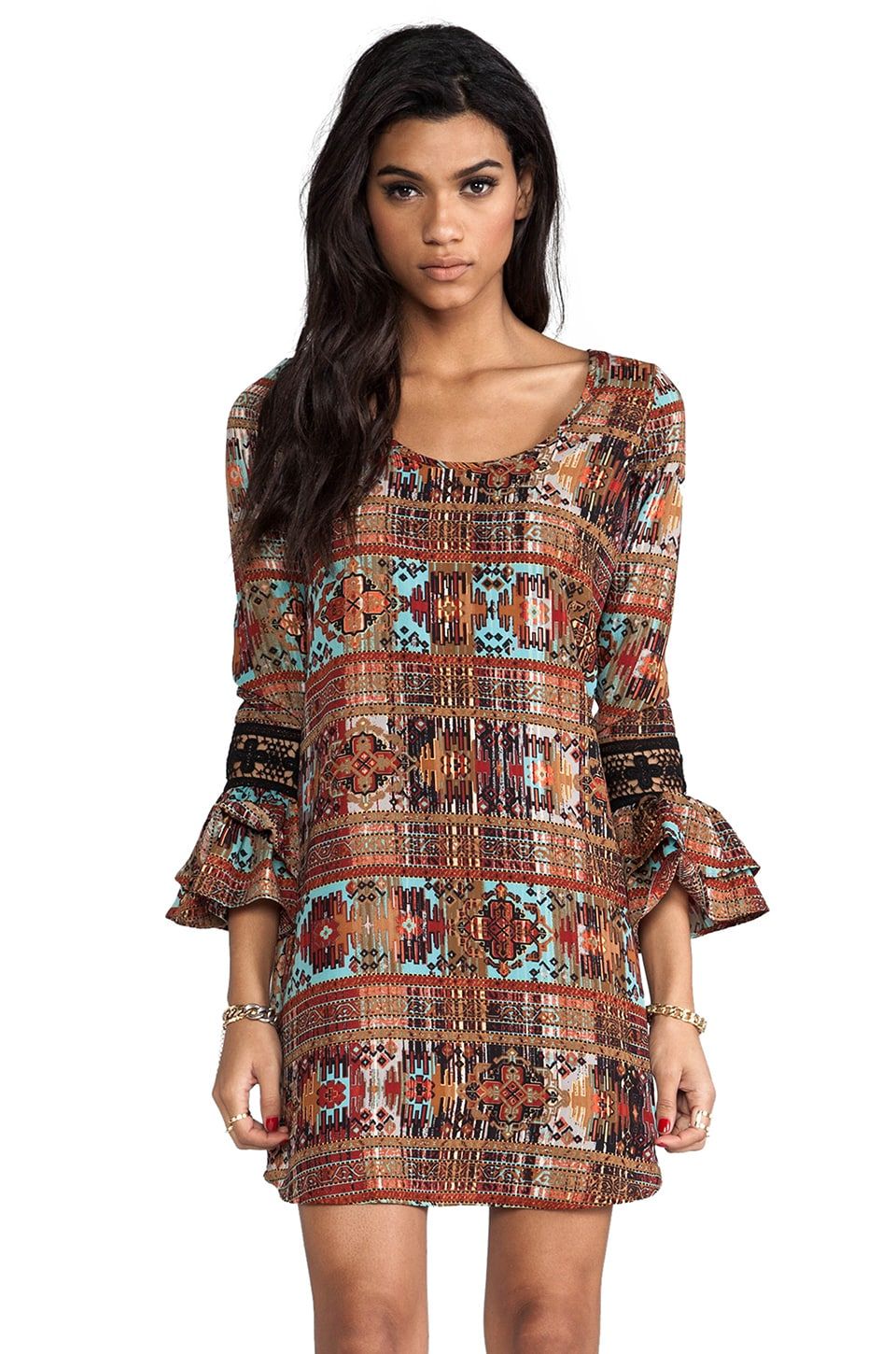 VOOM by Joy Han Calista Long Sleeve Dress in Brown