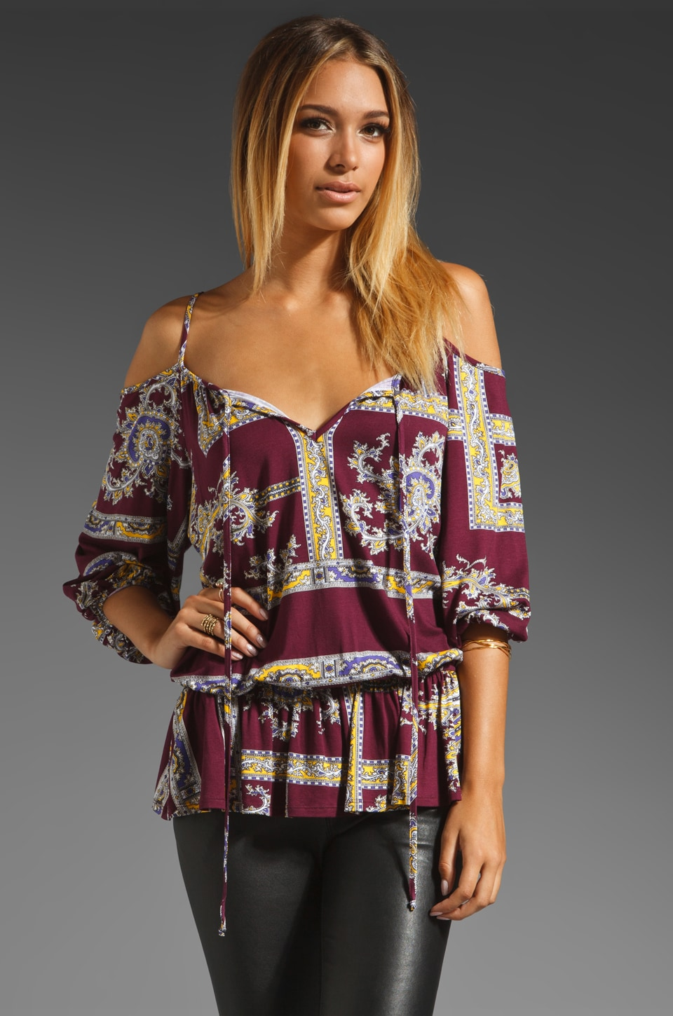 VOOM by Joy Han Alexa Peasant Top in Purple