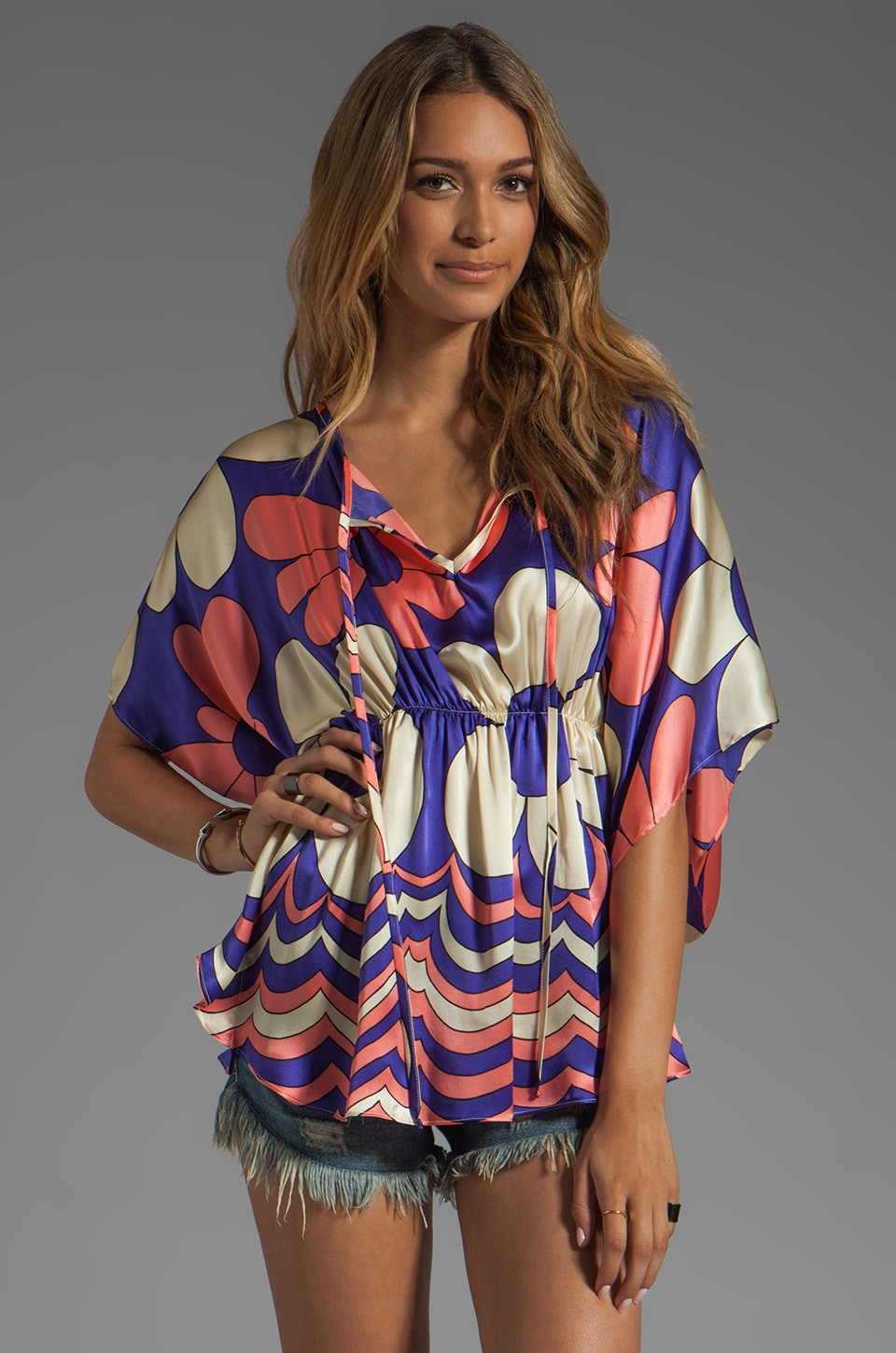 VOOM by Joy Han Fiori Caftan Top in Purple
