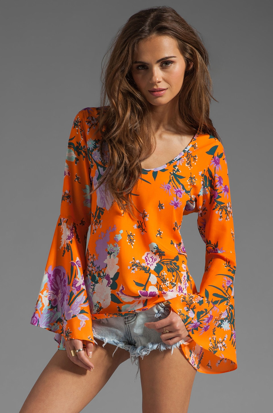 VOOM by Joy Han Sara Bell Sleeve Top in Orange