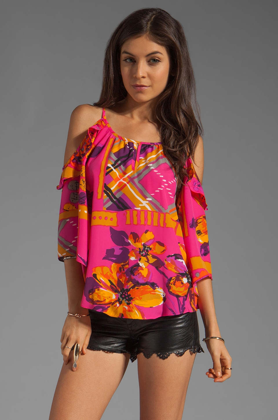 VOOM by Joy Han Missy Open Shoulder Top in Multi