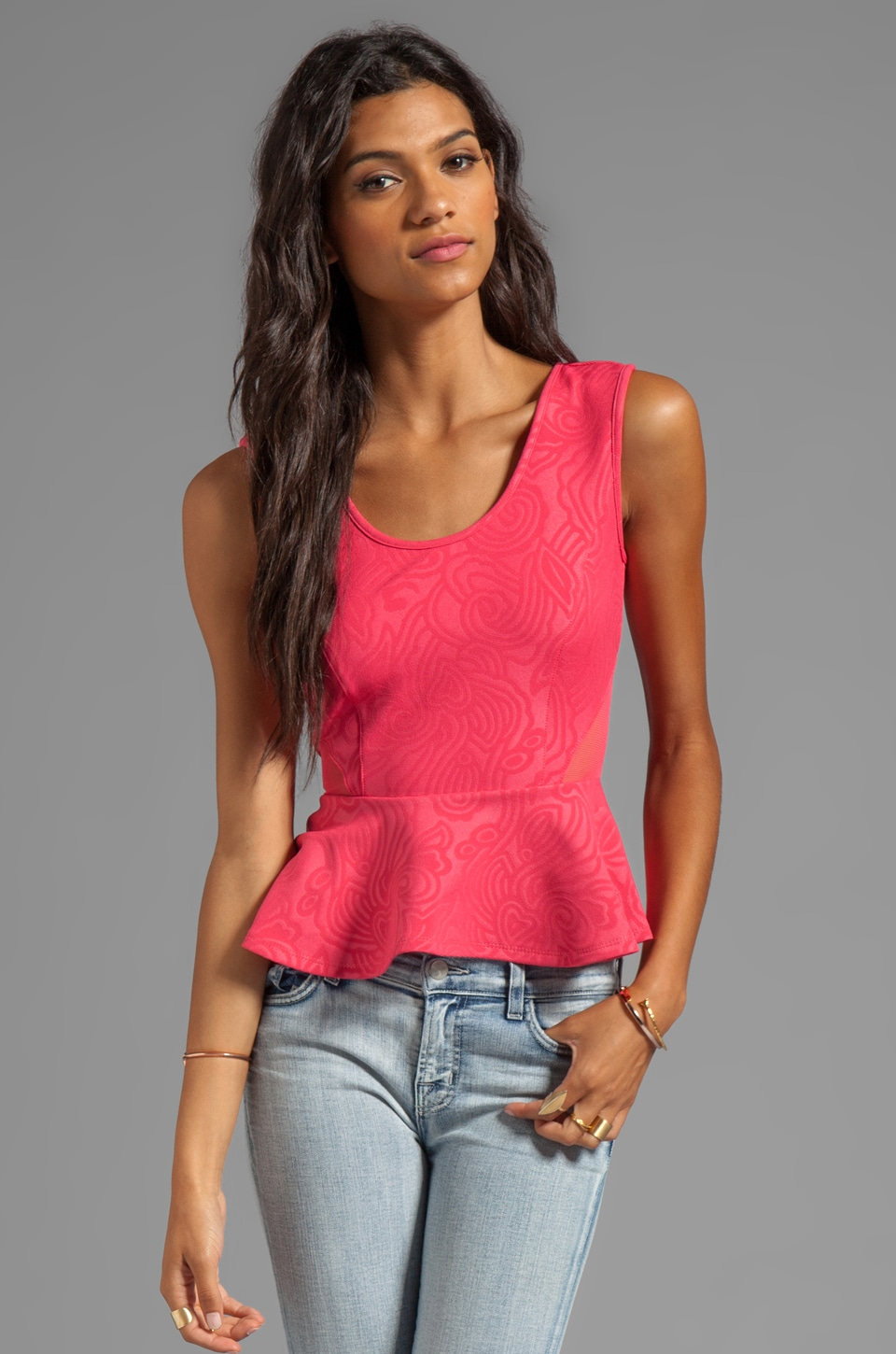 VOOM by Joy Han Nadia Sleeveless Peplum Top in Coral