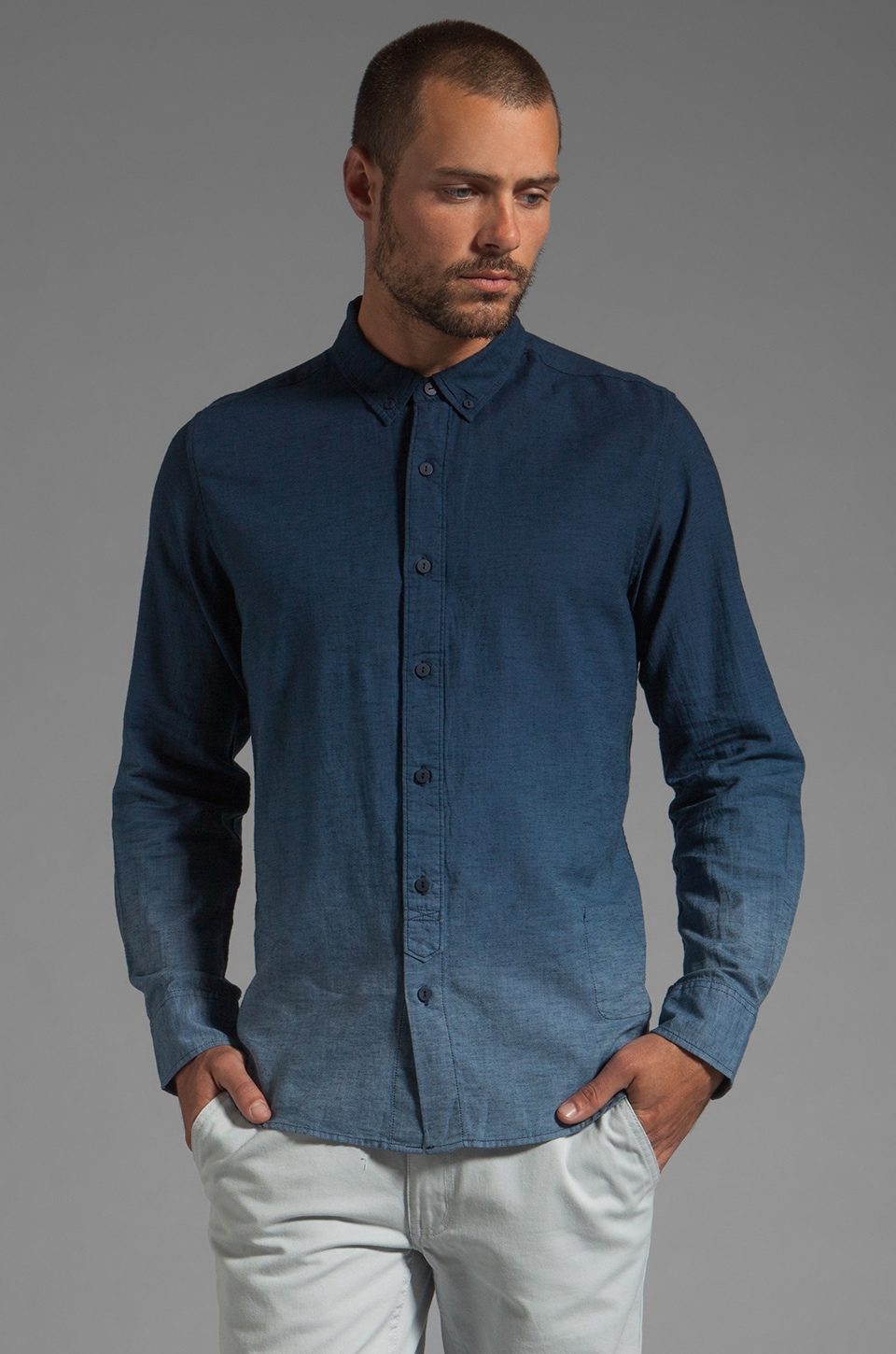 V.S.T.R Shades Shirt in Ensign Blue Dip-Dye