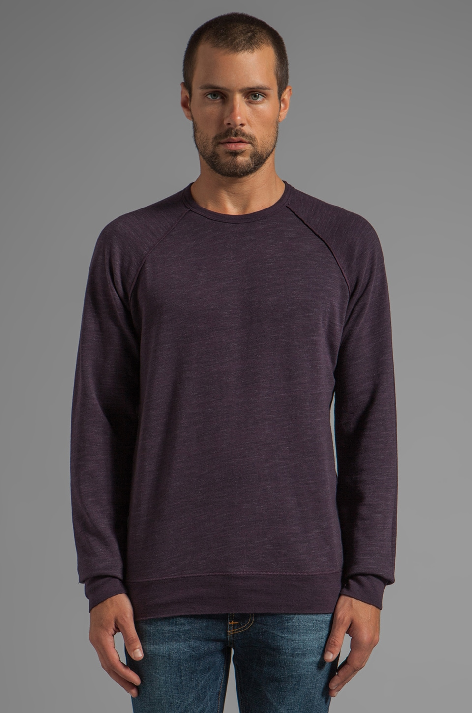 Velvet by Graham & Spencer Anson Marble Fleece Pullover in Eggplant