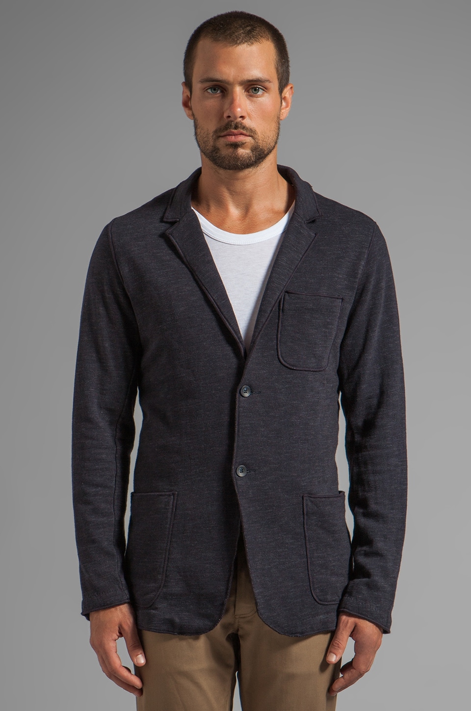 Velvet by Graham & Spencer Santiago Marble Fleece Blazer in Caspian