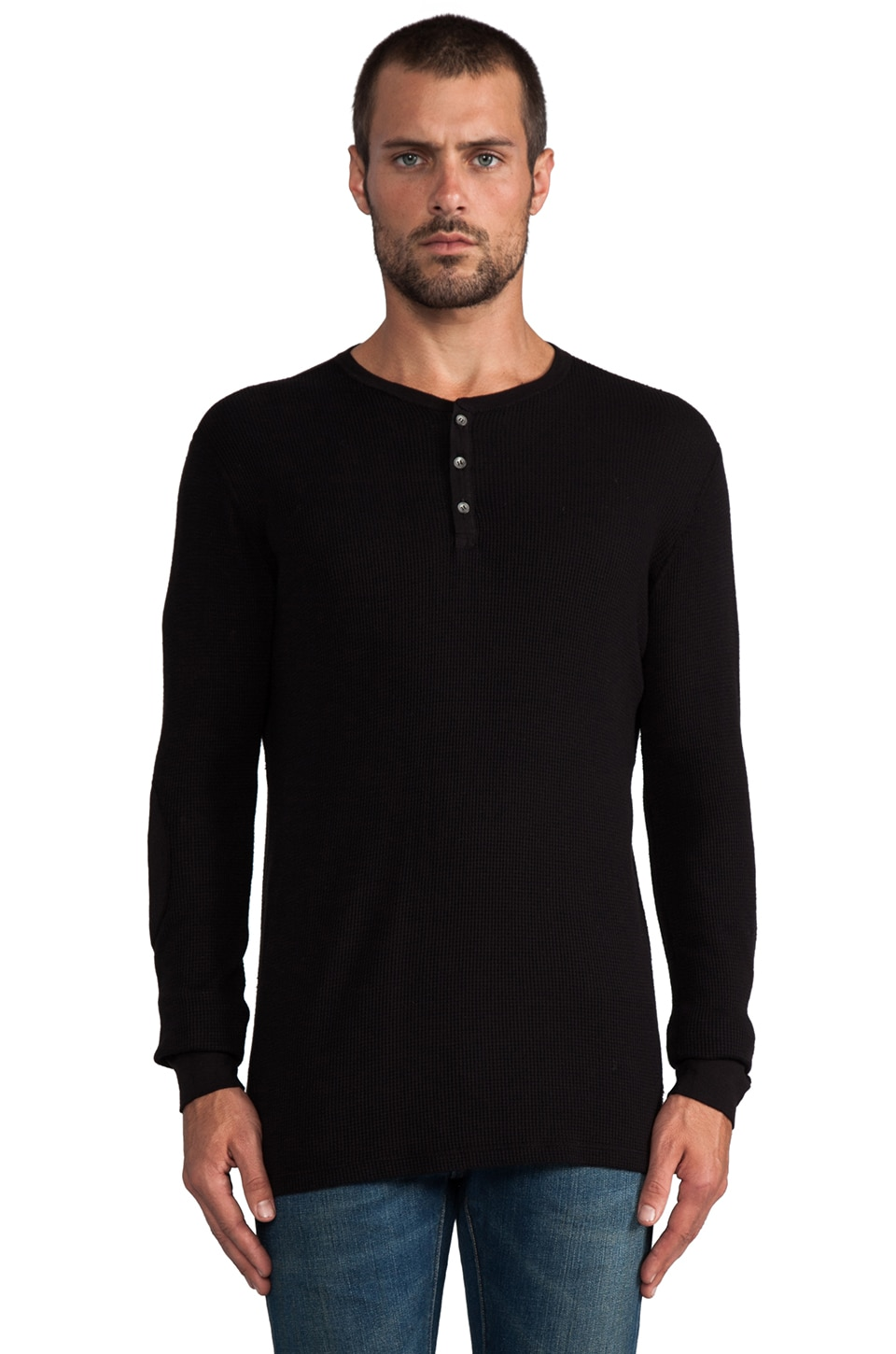 Velvet by Graham & Spencer Thor Thermal Henley in Black