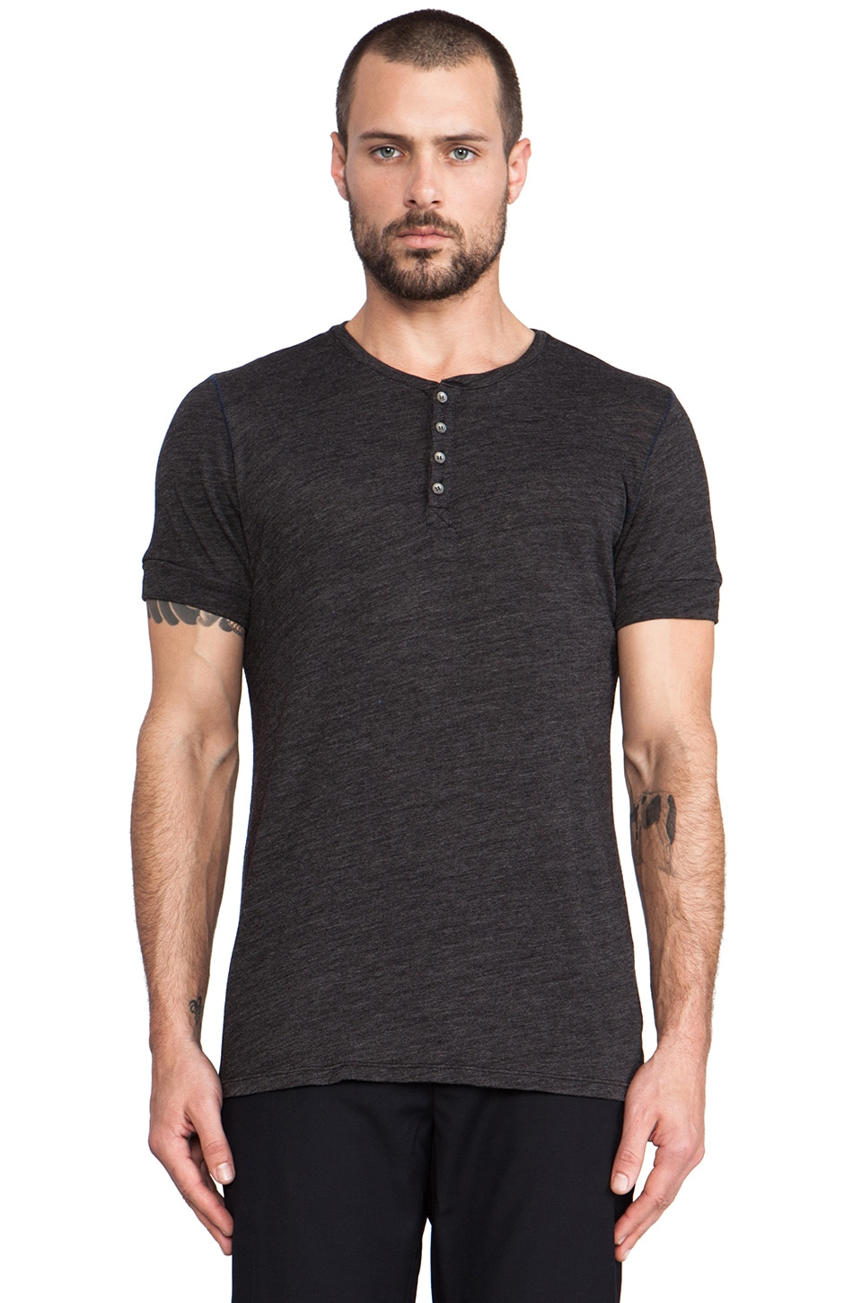 Velvet by Graham & Spencer Cade Henley in Black