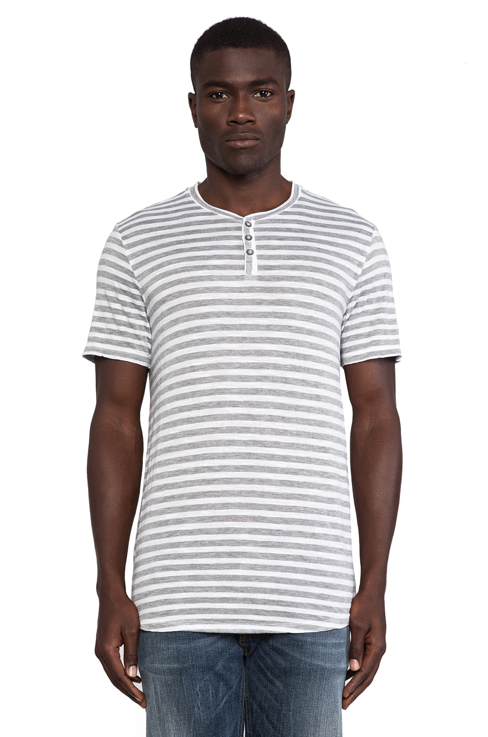 Velvet by Graham & Spencer Wolf Striped Henley in White