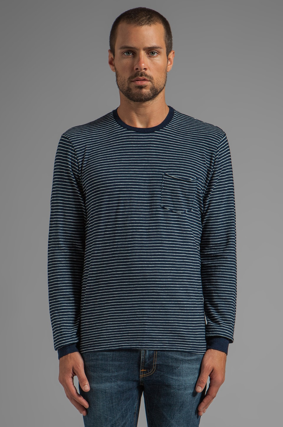 Velvet by Graham & Spencer Harold Indigo Stripe L/S Pocket Tee in Pin Stripe