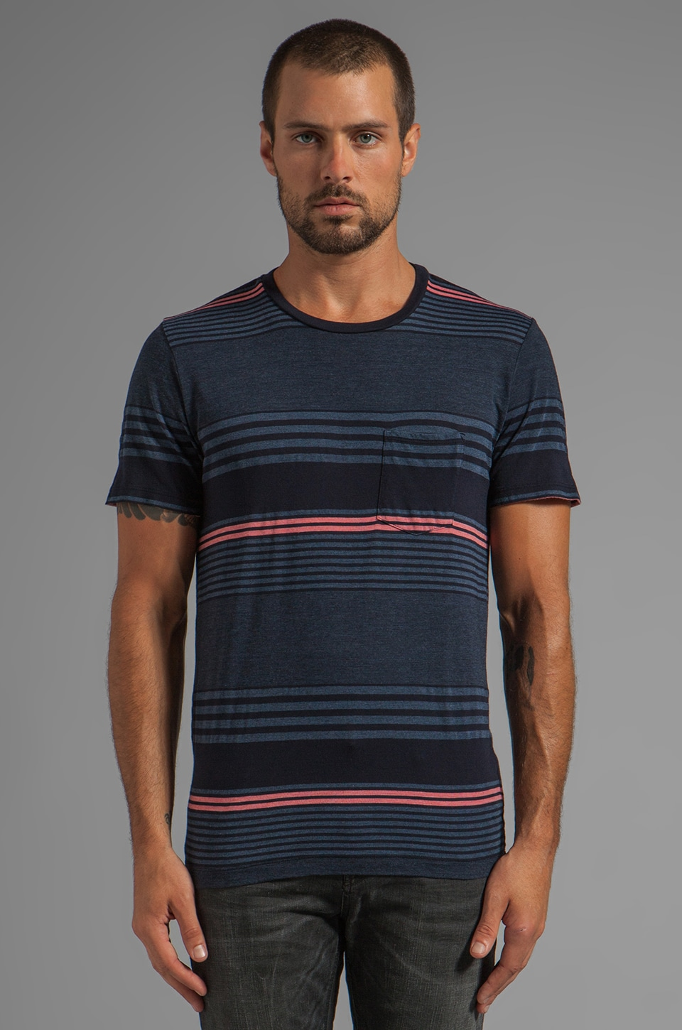 Velvet by Graham & Spencer Bryson Stripe Jersey Tee in Midnite