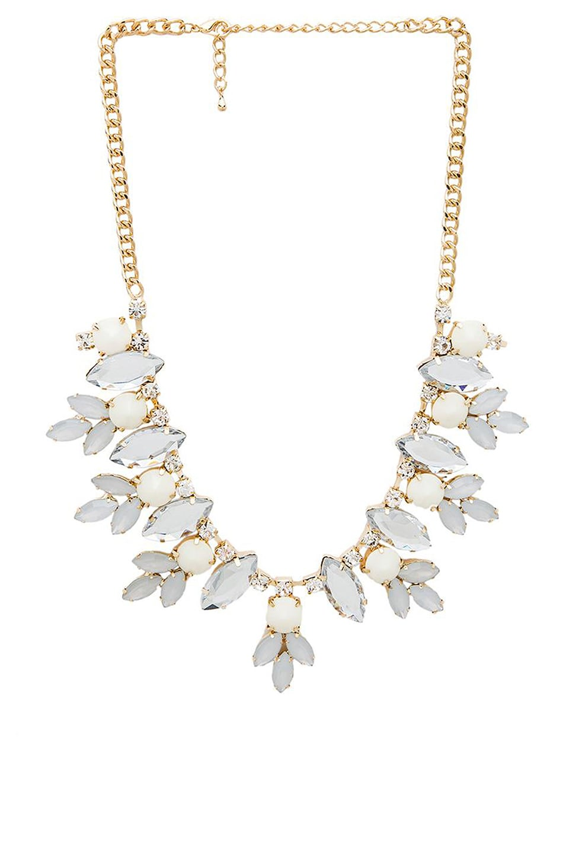 Wanderlust + Co Multi Gem Floral Necklace in Ivory
