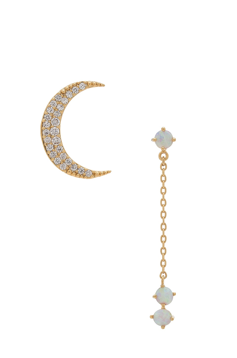 Wanderlust + Co Crescent Gold & Opal Drop Earring in Gold